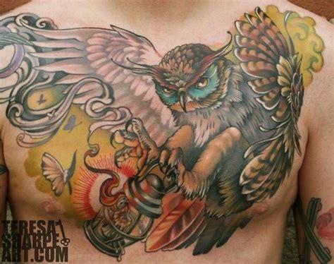 owl tattoo piece one awesome owl chest piece tattoo gorgeous tattoos