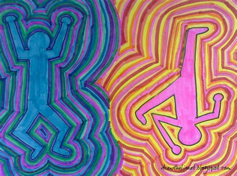 rhythmic pattern drawing draw the line at keith haring figures