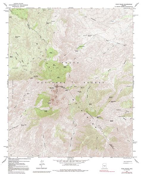 arizona topographical map four peaks topographic map az usgs topo 33111f3