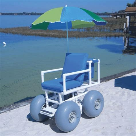 large wheelchair aqua creek access chair with 4 large wheels and umbrella