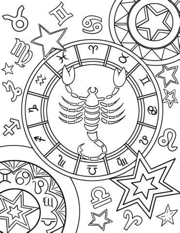 Dibujo de Signo del zodiaco Escorpio para colorear