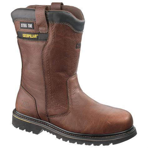 wellington work boots for s cat 8 quot elkhart waterproof steel toe wellington work