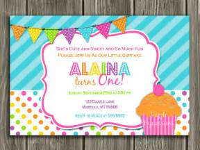 colorful cupcake birthday invitation 1st birthday printable thank you card