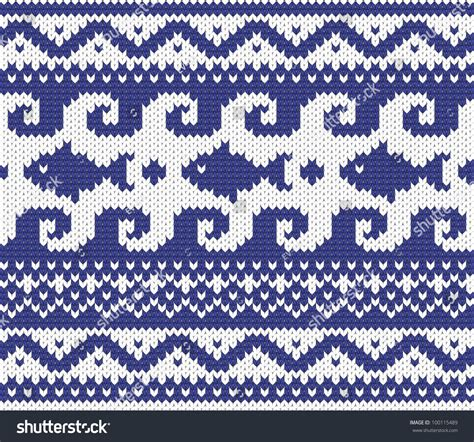 seamless knitted pattern vector seamless knitted marine pattern eps 8 vector