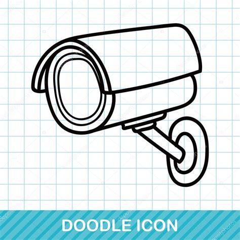 doodle surveillance c 225 maras de vigilancia doodle ilustraci 243 n vectorial