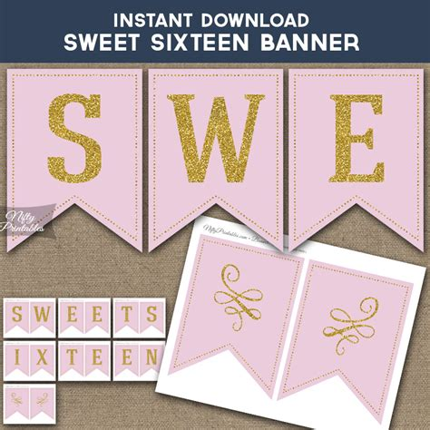 Printable Sweet Sixteen Birthday Banner Pink Gold Sweet 16 Banner Template