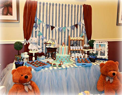 Blue And Brown Baby Shower Table Ideas Photograph Give - blue and brown teddy bears baby shower ideas photo