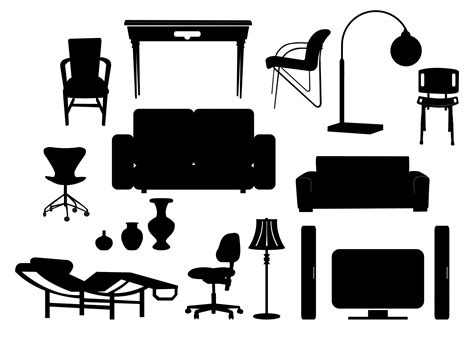 in house furniture movers free vector modern furniture silhouettes 133628 modern furniture silhouettes