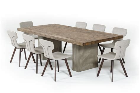 Modern Oak Dining Table Modrest Renzo Modern Oak Concrete Dining Table