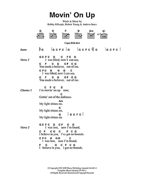 Movin On Up by Movin On Up Sheet By Primal Scream Lyrics Chords