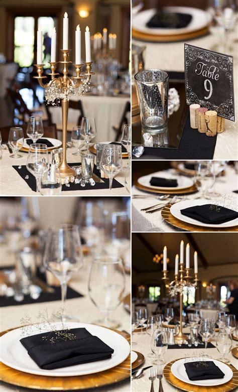 black white gold elegant table decor   wedding