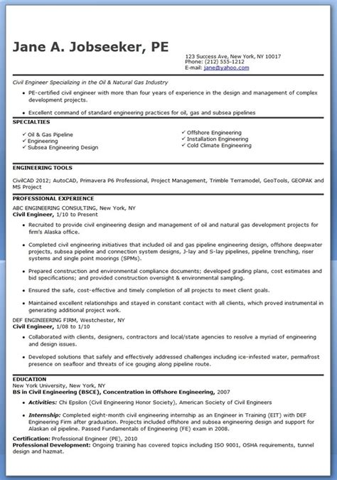 standard resume format for civil engineers resume sles of civil engineer