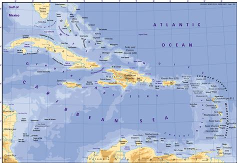 map of the us and caribbean caribbean map cuba mappery