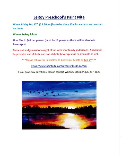 paint nite boston january town of leroy leroy preschool s paint nite