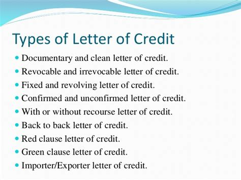 Letter Of Credit With Recourse Different Means Of Remittance