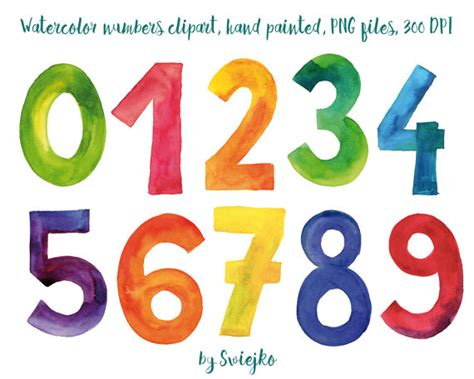 clipart numeri numbers watercolor clipart colorful letters painted
