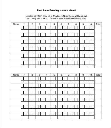bowling recap sheet template images templates design ideas