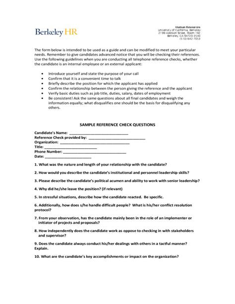 reference questions template sle reference check questions berkeley free