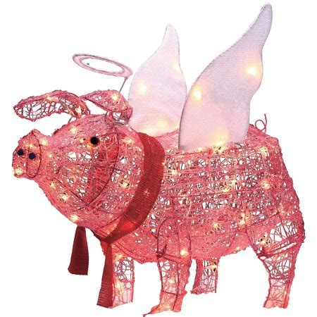 lighted pig lawn ornament christmas time 28 quot acrylic pig light sculpture walmart