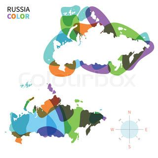 abstract vector color map of russia with transparent paint effect for colorful presentation