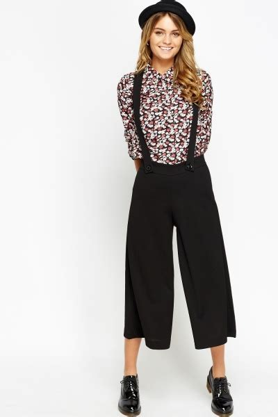Cropped Wide Leg Trousers braced black cropped wide leg trousers just 163 5
