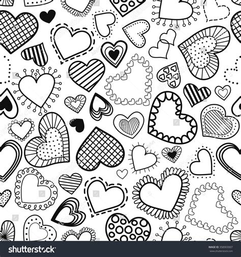 pattern mining en français seamless pattern hearts black white style stock vector