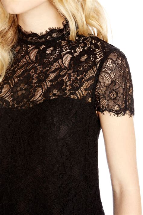 High Neck Lace Top oasis lace high neck top in black lyst