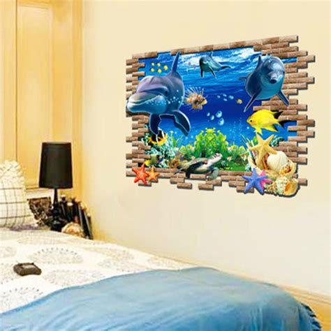 3d Wall Stickers For Kids sea cute dolphin fish 3d wall stickers for kids rooms home