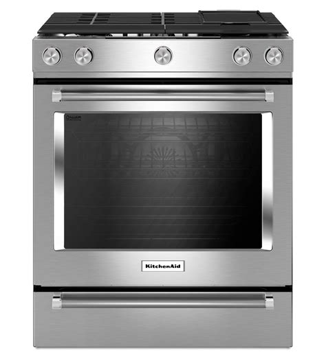 30 Inch 5 Burner Gas Convection Slide In Range with Baking