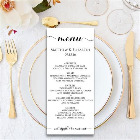 wedding menu wedding menu template menu cards menu