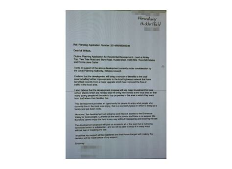 Support Letter For Planning Application Grimescar Valley Plan Has Some Support Including In Bolton Huddersfield Examiner