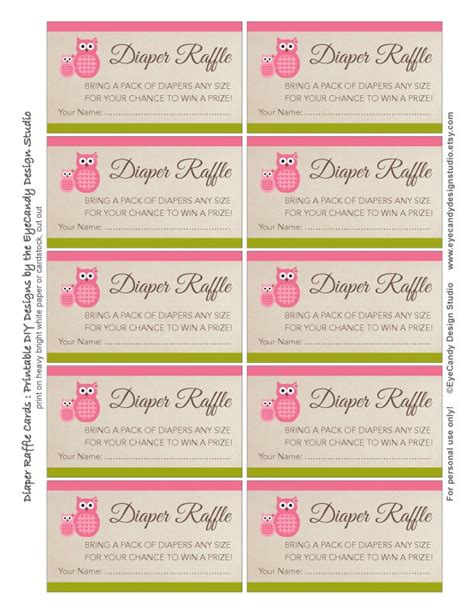 Free Printable Baby Shower Raffle Tickets by Printable Owl Raffle Tickets Raffle Cards