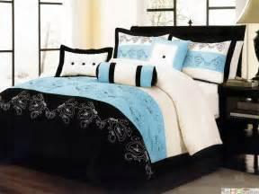 Embroidery microfiber comforter set blue black white queen ebay