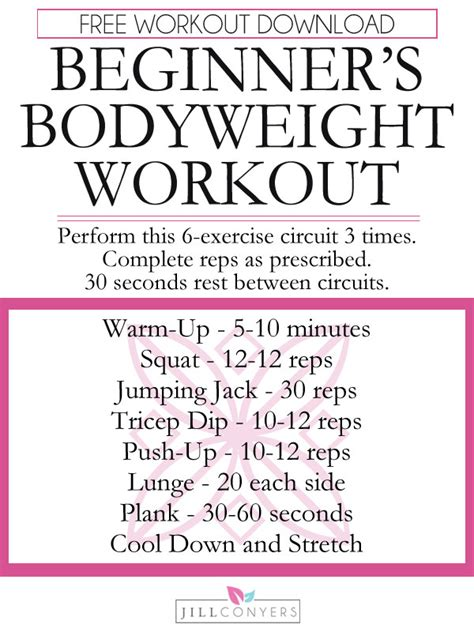 workout wednesday the beginner s exercise plan exercises for women female fitness by beginner s no equipment needed workout for women jill