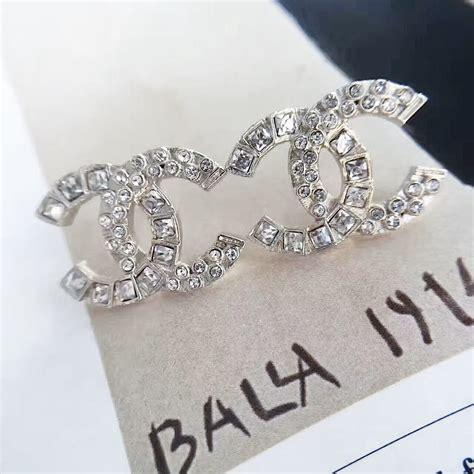 chanel cc logo earrings large silver jewelry