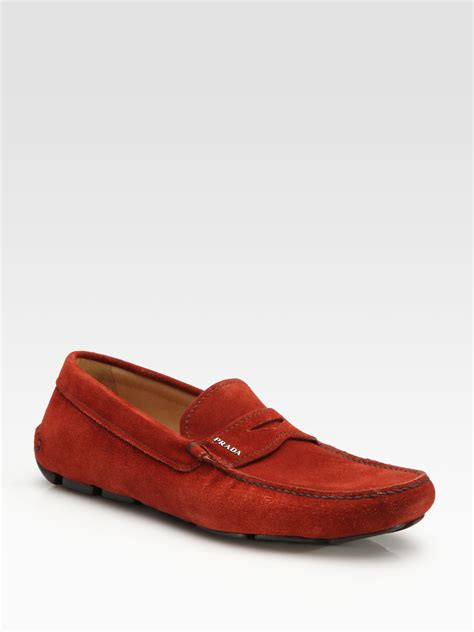 prada driving shoes prada suede driving moccasins in for berry lyst