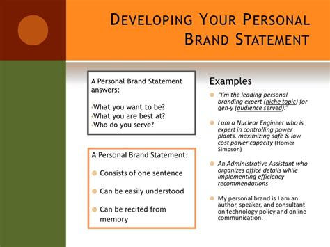 personal brand statement template setting yourself apart from the crowd
