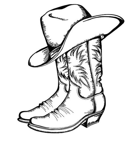 western hat coloring page 25 best ideas about cowboy boot tattoo on pinterest