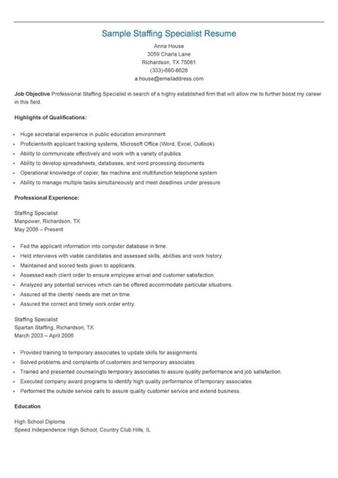 Staffing Specialist Resume by 17 Best Images About Resame On Skin Care Specialist Supply Management And