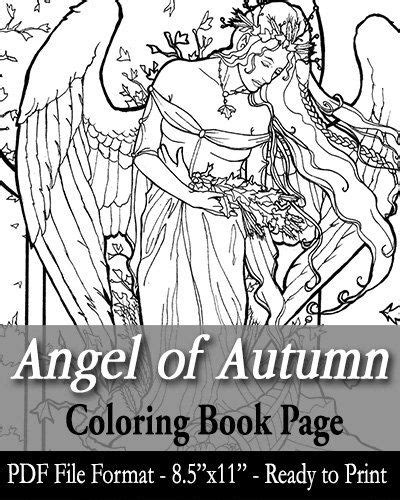 printable coloring book page  adults angel  autumn