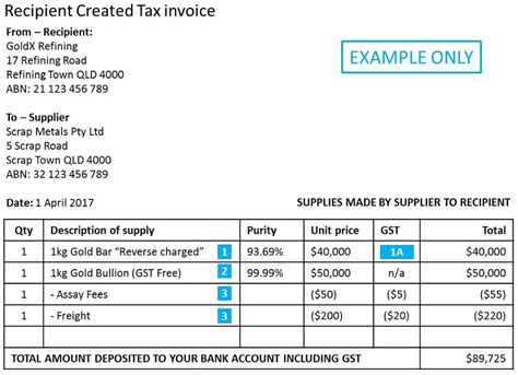 sle invoice under reverse charge mechanism record keeping requirements australian taxation office