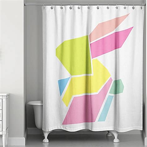 bunny shower curtain designs direct spring geometric bunny 74 inch shower