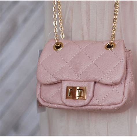 Chanel Style Quilted Bag by S Mini Chanel Style Quilted Bag Pink Gold Black