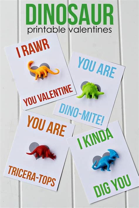 dinosaur printable valentines myprintly