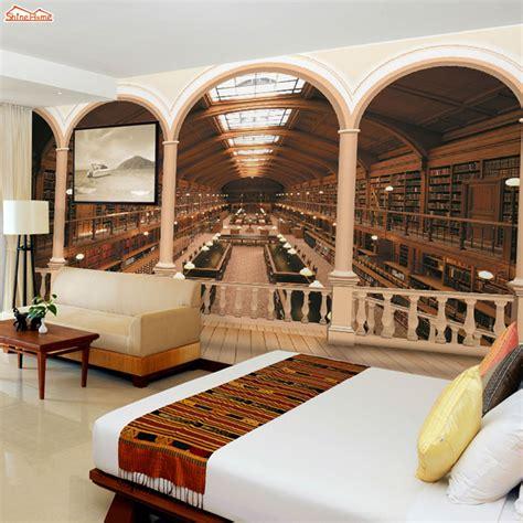 shinehome rome column library bookshelf  wallpaper