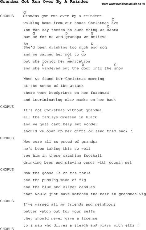 grandma got run over by a reindeer chords the christmas carol song lyrics with chords for grandma got