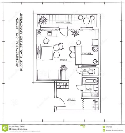 floor plan sketch architectural floor plan stock vector image 68167329