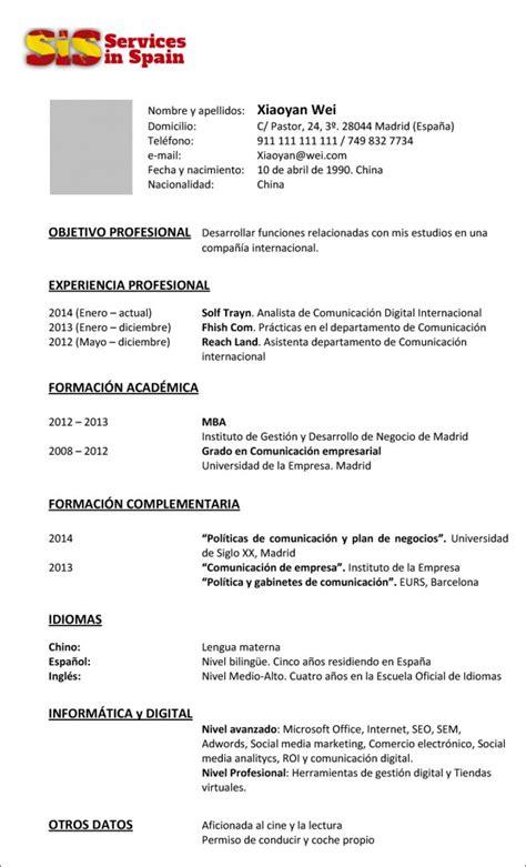 Modelo Cv Basico Experiencia Modelo De Cv Inverso Servicesinspain