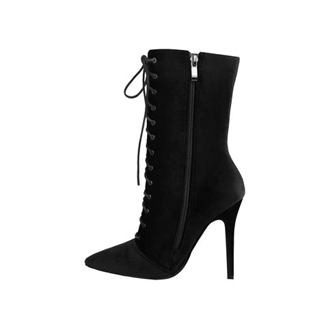 lace up high heel boots black velvet pointed toe lace up high heel stiletto ankle