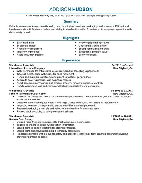 Warehouse Resume by Best Warehouse Associate Resume Exle Livecareer